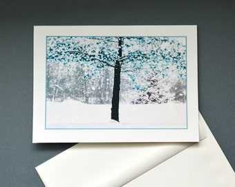 Greeting card, Snow Fall and Trees, Christmas Card, blank inside or with message, Winter Art, 5x7 Card , Linen Card Stock, Picture Me Card