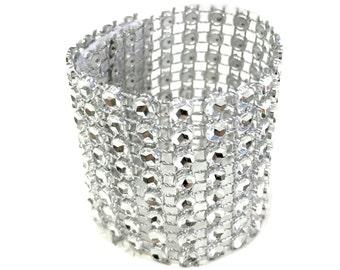 Silver Rhinestone Napkin Rings Holder, 2-1/2-Inch, 40-Piece