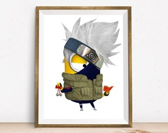 Kakashi Sensei Minion Print Naruto Character Wall Decor Art Home Decor Wall Hanging