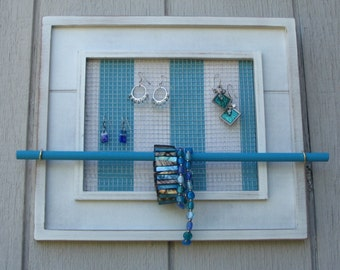 chic seaside jewelry bar display organizer distressed wood frame and teal accents Table top or wall 13 x 15 inches