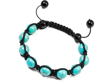 10mm Blue Turquoise Bracelet,Shamballa Bracelet Women's,Blue Beaded Bracelet Howlite,10mm Mens Beaded Bracelet,Turquoise Adjustable Bracelet