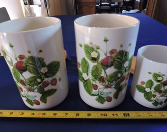 Set of 3 Portmeirion Summer Strawberries Canisters Set