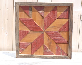 salvaged wood wall art,  geometric art, barn quilt block