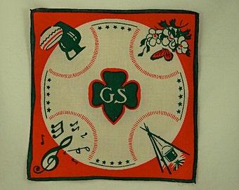 Girl Scout Trefoil Printed Handkerchief Vintage 1939