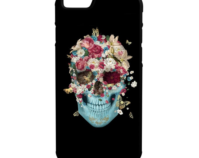 Happy Skull with Flowers iPhone Galaxy Note LG HTC Hybrid Rubber Protective Case