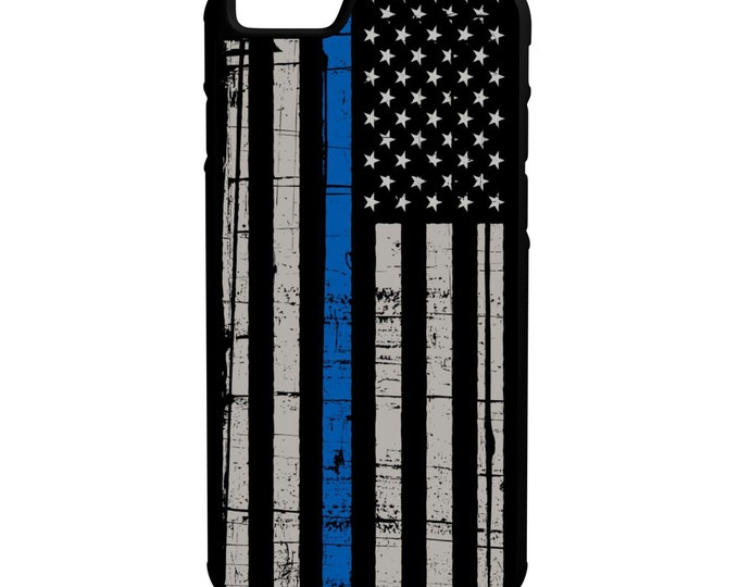 American Flag iPhone Galaxy Note LG HTC Hybrid Rubber Protective Case Blue Lives Matter