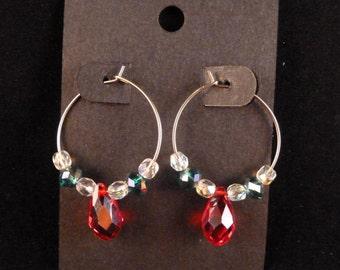Red, Green, and Clear Crystal Christmas Hoop Earrings