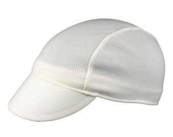 White moisture wicking cycling cap - handmade cap; moisture wicking cap; bicycle cap; polyester cap; bike wear; cycling clothes