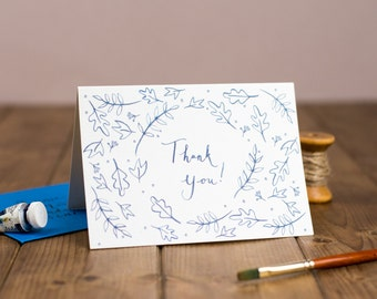 Hand lettered thank you card illustration
