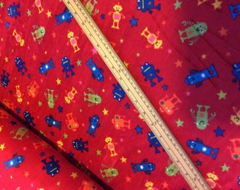 Robot velour fabric - Red