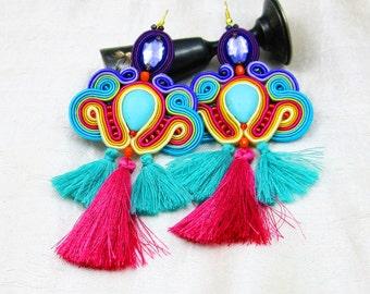 Soutache Earrings  ,soutache jewelry in ethnic, handmade earrings, Colorful Dangle Earrings, pink, , fringe,pom poms