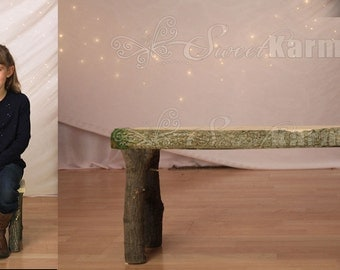 Real Wood Toddler Child Log Bench Photo Photography Prop
