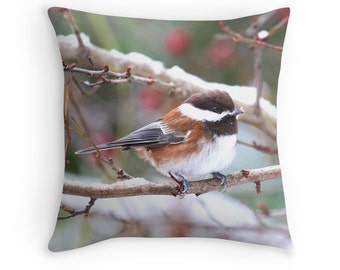 Chickadee Pillow, Small Birds, Chickadee Cushion, Bird Cushion, Snow Bird, Bird Decor, Bird Throw Pillow, Winter Bird, Wildlife Pillow
