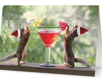 Funny Christmas Card, Squirrel Cards, Booze, Funny Cards, Humorous Cards, Funny Animal Art, Christmas Party, Alcohol Gifts, Cosmopolitan