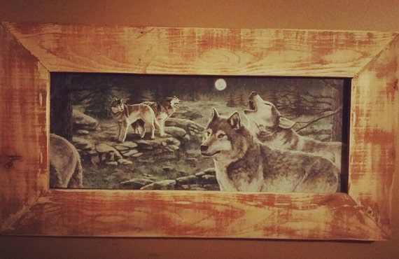 Rustic Decorwolf Print With Rustic Frame Wood Framed Wolf