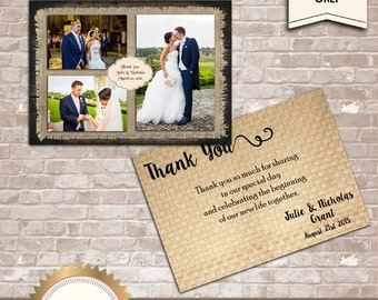Rustic Wedding Thank You Card, Thank You Photo Collage, Wood and Burlap - 3 photos - Printable, Digital file, DIY