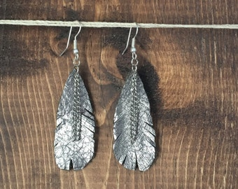 Hand Cut Leather Earrings - Metallic Silver Feather with Chain