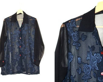 transparent dark blue blouse with iridescent flowers