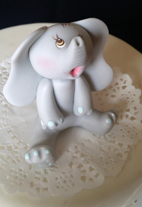 Gray Baby Elephant Cake Topper