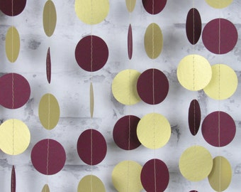 Burgundy and Gold Garland - Burgundy Wedding Decor - Wine Colored Paper Garland -  Gold and Maroon Christmas