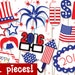 MEGA PACK Fouth of July Photobooth Props - PRINTABLE - 42 piece - Instant Download, Print, Party - 4th July Photo Booth Paper Props Diy
