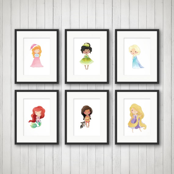 Princess wall art princess wall decor girls princess room - Princess party wall decorations ...