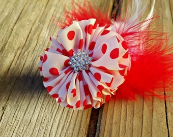 CLEARANCE SALE! Hair Accessory, Girls Accessory, Red Polka Dot, Valentine Flower, Red and White Feathers, Red Flower, Baby Accessory