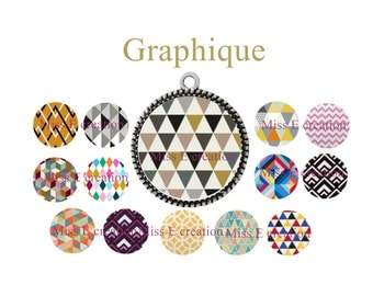 graphic digital images for round cabochon