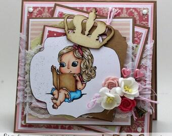 Reading girl Card