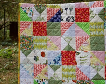 """Baby Quilt, Modern Colorful Patchwork by zakkStudio, Gift for Kids, Size 47""""x63""""inch/SALE"""