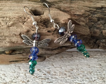 Dragonfly earrings,glass beaded dragonfly  earrings,purple,blue,green dragonflies,dragonfly jewellery,dragonfly gifts,gift for women