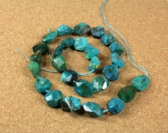 A+ Chrysocholla Faceted Nugget Beads - Dark Teal and Blue Center Drilled Beads, 15x15mm, 17 inch strand