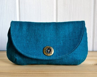 READY TO SHIP Raw Silk Evening Clutch (deep teal)