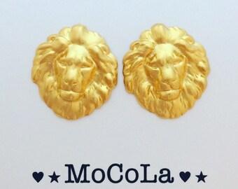 Lion Earrings, 18K Gold Lion Earrings, lion jewelry, animal jewelry, vintage earrings, Versace lion