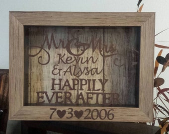 Personalized Shadow Box, Frame, SHIPPING INCLUDED  Couples Shadow Box, Mr and Mrs Keepsake Box, Happily Ever After, Wedding, Custom Phrase