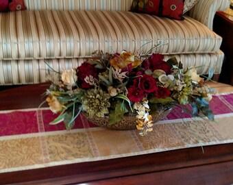 Elegant Floral Arrangement, Tuscan Large Silk Floral, SHIPPING INCLUDED,Floral Centerpiece, Foyer Table, Dining, Designer Home Décor