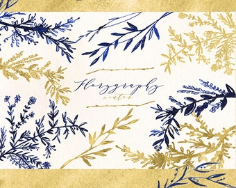 Florygraphy winter. Ink hand drawn clipart. Blue and gold. Elegant and original Calligraphy style logo, invitation, blog. Ink clipart.