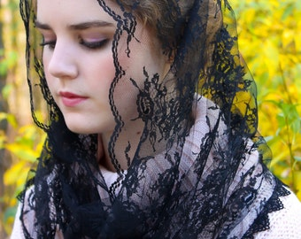 Black French Lace Infinity Style Chapel Veil Mantilla Latin Mass