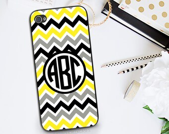 Monogram Phone Case - iPhone 4 Phone Case - Monogram iPhone 4 Case - phone cases for iphone 4 - Yellow & Gray Chevron