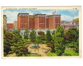 Los Angeles California vintage postcard | Biltmore Hotel, Pershing Square | 1920s CA travel souvenir, vacation scrapbook, hometown decor