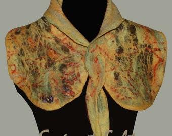 Nuno felting scarf , collar , Felt fashion , Unique felt accessory , Nuno wet felting , OOAK