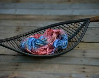 """Sari Silk Ribbon, 5 yards - """"Panatone""""  - Pink and blue sari silk - Free trade recycled sari silk ribbon - Imported from India"""