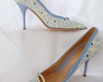 80s SERGIO ROSSI lilac blue floral and patent leather stiletto pumps/ gold buckle detail/pointy toe: size It 38= fits US 8-8.5 woman