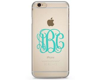Turquoise Monogram iPhone Case, iPhone SE case, iPhone 6s Case, iPhone 6s Plus case, iPhone 7 case, Clear Phone Case