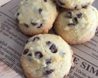 Homemade organic chocolate chip cookies.
