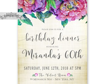 Adult Birthday Dinner Invitations, 60th Birthday or any age, For a Woman, Printable Birthday Party Invitations for Adults, Purple Jewel Tone