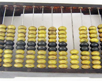 Vintage wooden abacus calculator