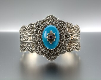 Carolyn Pollack Turquoise and Amethyst Stamped Sterling Silver Cuff Bracelet