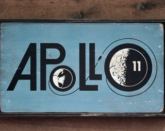 Vintage wooden sign 'Apollo 11 Moon Shot' reproduction sign