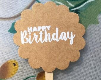"Set of 20 Handmade ""Happy Birthday"" Cupcake Toppers-Birthday Party Food Pick-Birhday Treat Topper-Canapé Pick-Rustic Birthday Cupcake Topper"